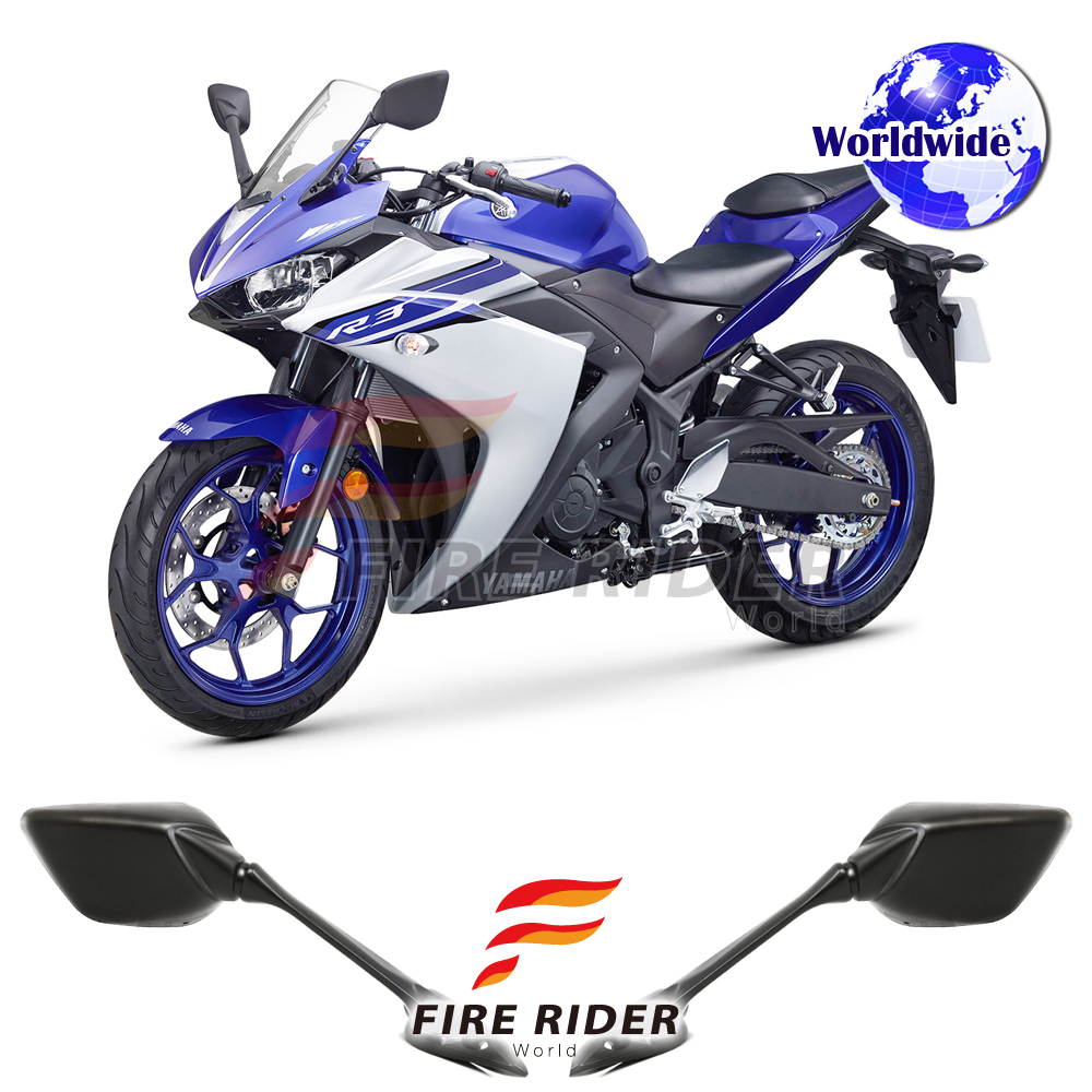 Emark Black Aftermarket Rear Side Mirrors For Yamaha Yzf